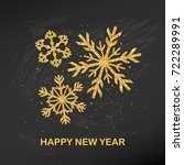 golden glitter snowflake happy... | Shutterstock .eps vector #722289991