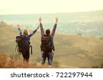 a couple of tourists with...   Shutterstock . vector #722297944