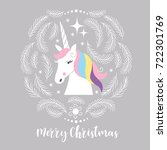christmas card with unicorn | Shutterstock .eps vector #722301769
