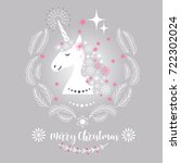 christmas card with unicorn | Shutterstock .eps vector #722302024