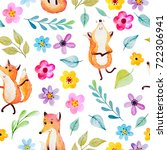 watercolor background with cute ... | Shutterstock . vector #722306941