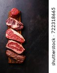 variety of raw black angus... | Shutterstock . vector #722318665
