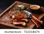 sliced grilled meat steak new... | Shutterstock . vector #722318674