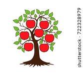 apple tree. vector illustration ... | Shutterstock . vector #722328979