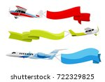 attached banners to flying... | Shutterstock .eps vector #722329825