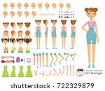 young smile girl casual style.... | Shutterstock .eps vector #722329879