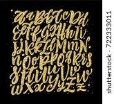 gold alphabet lettering. gold... | Shutterstock .eps vector #722333011