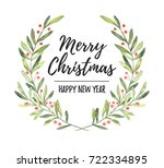 watercolor illustration. xmas... | Shutterstock . vector #722334895
