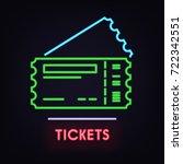 vector neon line art ticket... | Shutterstock .eps vector #722342551