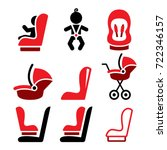 baby car seat vector icons ... | Shutterstock .eps vector #722346157