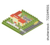 isometric school building on... | Shutterstock . vector #722349031