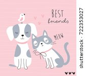 cute best friends cat  dog and... | Shutterstock .eps vector #722353027