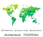 world map and various cars on... | Shutterstock .eps vector #722355361