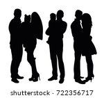 silhouette people standing | Shutterstock . vector #722356717