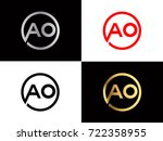 ao text gold black silver... | Shutterstock .eps vector #722358955
