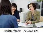 stylish businesswoman in a... | Shutterstock . vector #722361121