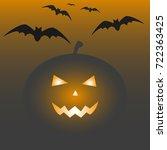 halloween background. vector... | Shutterstock .eps vector #722363425