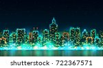 city night skyline with bright... | Shutterstock . vector #722367571