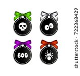 set of gift tags for halloween. ... | Shutterstock .eps vector #722368429