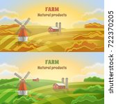 rural landscape with a mill and ... | Shutterstock .eps vector #722370205