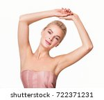 beautiful young woman holding... | Shutterstock . vector #722371231
