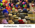uncountable colorful hats and... | Shutterstock . vector #722375191
