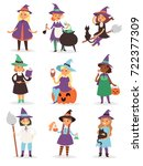 cute little halloween witch... | Shutterstock .eps vector #722377309