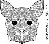 coloring  chihuahua dog | Shutterstock .eps vector #722382715