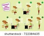 fun cartoon girl sitting ... | Shutterstock .eps vector #722384635