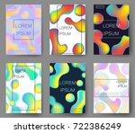 fluid colors backgrounds set.... | Shutterstock .eps vector #722386249