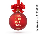 red christmas ball with text ... | Shutterstock .eps vector #722387521