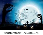 halloween night background with ... | Shutterstock .eps vector #722388271