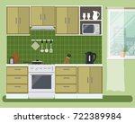 kitchen in a green color. there ... | Shutterstock .eps vector #722389984