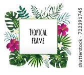 square tropical frame  template ... | Shutterstock .eps vector #722391745