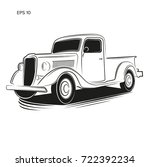 old retro pickup truck vector... | Shutterstock .eps vector #722392234