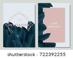 hand drawn tropical dark green... | Shutterstock .eps vector #722392255