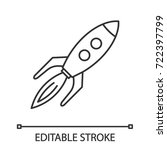 toy rocket linear icon. thin... | Shutterstock .eps vector #722397799