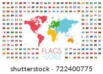 204 world flags with world map... | Shutterstock .eps vector #722400775