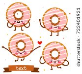 cute cartoon donuts  vector... | Shutterstock .eps vector #722401921