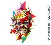vintage illustration of skull... | Shutterstock .eps vector #722403514