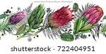 proteus flower seamless pattern.... | Shutterstock . vector #722404951