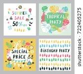 summer cards set. | Shutterstock . vector #722405275