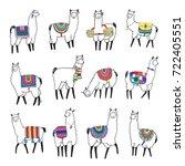 pretty lama animal doodle...   Shutterstock . vector #722405551