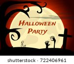 halloween party background with ... | Shutterstock .eps vector #722406961