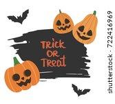 cute halloween vector... | Shutterstock .eps vector #722416969