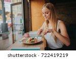 portrait of attractive... | Shutterstock . vector #722419219