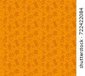 orange halloween background. | Shutterstock .eps vector #722422084