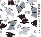 seamless cute dogs animal... | Shutterstock .eps vector #722425309