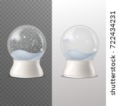 realistic snow globe  on... | Shutterstock .eps vector #722434231