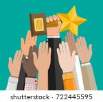 trophy winner gold cup with... | Shutterstock .eps vector #722445595